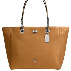 Coach Pebble Turnlock Large Chain Tote 56830